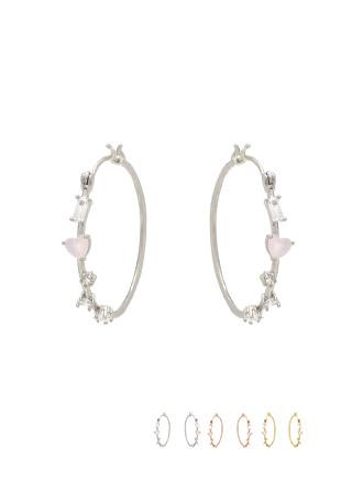 ac4102 앙증맞은 하트 포인트 큐빅 장식의 링 이어링 earring