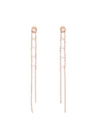ac4099 더블 체인 장식의 사다리 큐빅 롱 드롭 이어링 earring