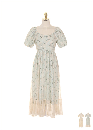 op7513 플라워 망사 레이스 장식의 스퀘어 퍼프 롱원피스 dress