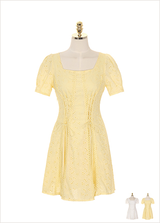 op7514 아일렛 포인트의 펀칭 레이스 스퀘어넥 원피스 dress