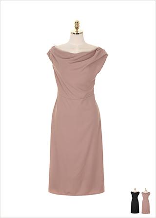 op7515 언발 셔링과 백 밴딩 디테일의 세미 플레어 원피스 dress