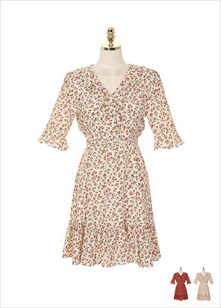 op7516 프릴 브이넥과 플레어 디자인의 플라워 랩 원피스 dress