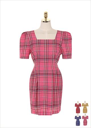 op7534 허리 핀턱과 퍼프 숄더 디테일의 스퀘어텍 체크 원피스 dress
