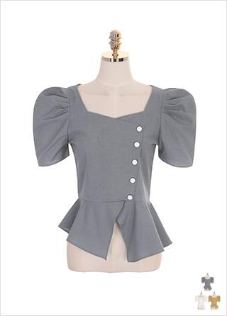 bs4520 언발 러플 장식과 퍼프숄더 디자인의 스퀘어 페플럼 블라우스 blouse