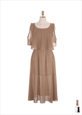 op7517 케이프 디자인과 백 리본 장식의 쉬폰 롱 원피스 dress