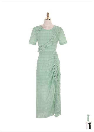 op7518 언밸런스한 프릴과 스트링 장식의 쉬폰 롱 원피스 dress