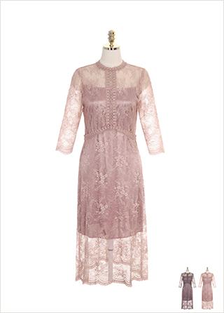 op7519 시스루한 플라워 레이스 패브릭의 펀칭디테일 A라인 원피스 dress