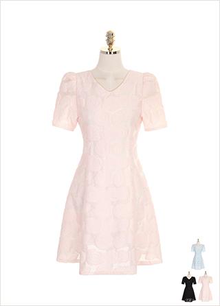 op7520 입체적인 플라워 패턴의 백 리본 포인트 A라인 원피스 dress