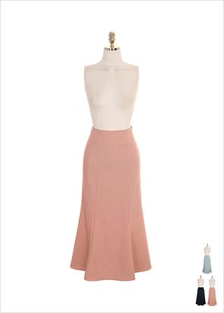 sk3609 베이직한 무지 디자인의 머메이드 미디롱 스커트 skirt