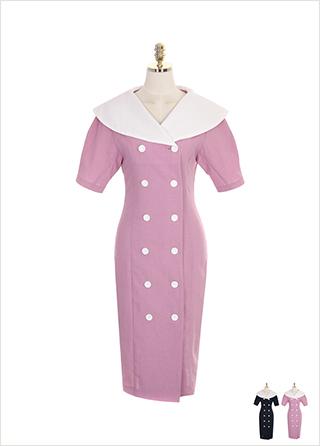 op7521 와이드 카라와 더블 버튼 장식의 A라인 원피스 dress