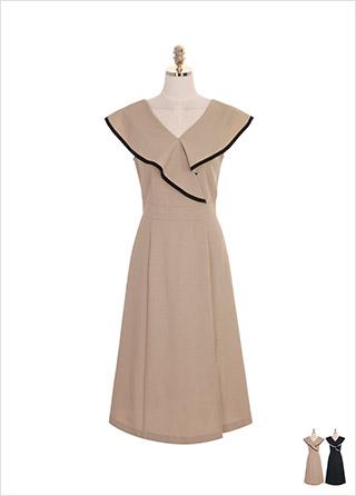 op7543 배색 러플 랩 장식의 세미 플레어 롱 원피스 dress