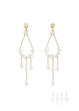 ac4110 물방울 크리스탈 장식의 진주볼 드롭 이어링 earring