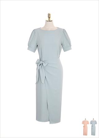 op7535 퍼프 소매와 리본 랩 디자인의 롱 원피스 dress