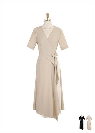 op7537 플리츠 아코디언 포인트의 브이넥 랩스타일 롱 원피스 dress