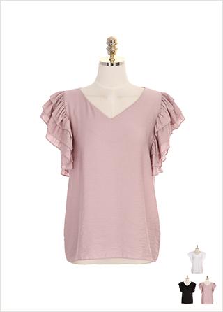 bs4526 풍성한 프릴 장식 소매의 브이넥 민소매 블라우스 blouse