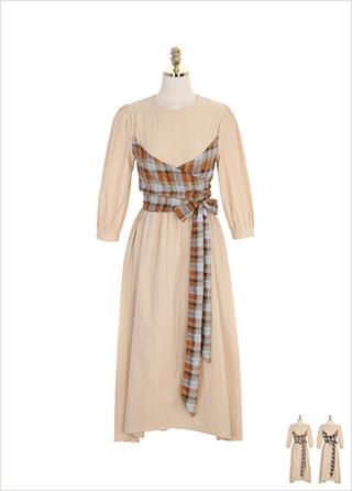 op7523 체크 뷔스티에 랩 장식의 플레어 롱 원피스 dress