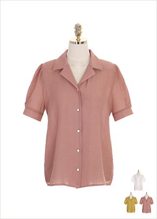 bs4530 금장단추 장식의 오픈 더블 카라 반팔 블라우스 blouse