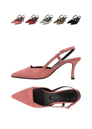 sh1591 발등 스퀘어 쉐입의 슬림코 스웨이드 슬링백 힐 shoes