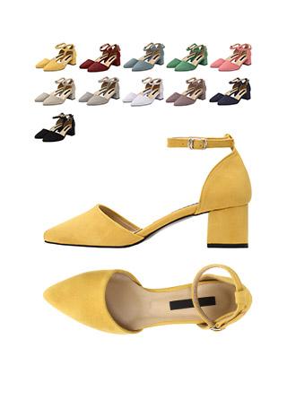 sh1589 세련된 슬림코 쉐입의 스웨이드 메리제인 미들힐 shoes