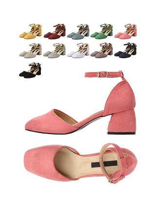 sh1590 세련된 둥근코 쉐입의 스웨이드 메리제인 미들힐 shoes