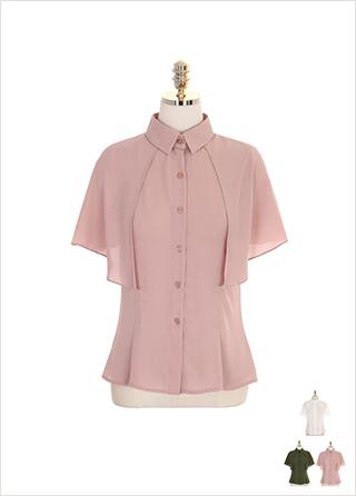 bs4593 케이프 장식의 슬림핏 셔츠 블라우스 blouse