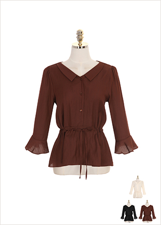 bs4596 브이넥 미니 카라와 스트링 장식의 나팔소매 페플럼 블라우스 blouse