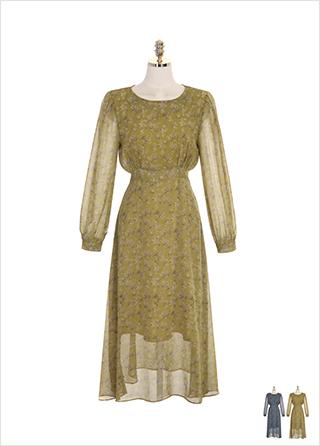 op7611 하이웨이스트 디자인의 플라워 쉬폰 롱 원피스 dress