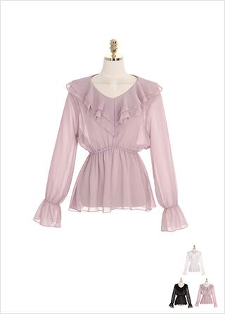 bs4614 시스루한 쉬폰 패브릭의 더블 러플카라 페플럼 밴딩 블라우스 blouse