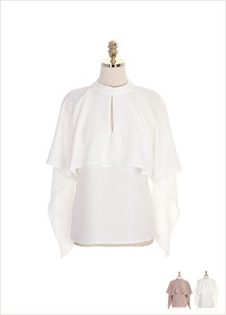bs4615 러플 케이프 디자인의 홀터 트임 블라우스 blouse