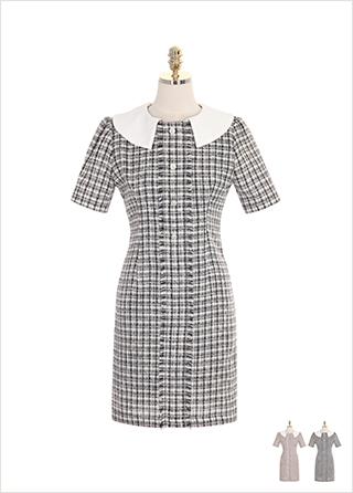 op7621 진주 단추와 배색 카라 장식의 트위드 반팔 원피스 dress
