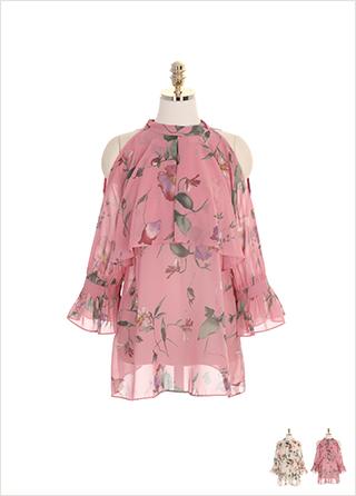 bs4616 어깨 트임과 러플 케이프 디자인의 플라워 쉬폰 홀터넥 블라우스 blouse