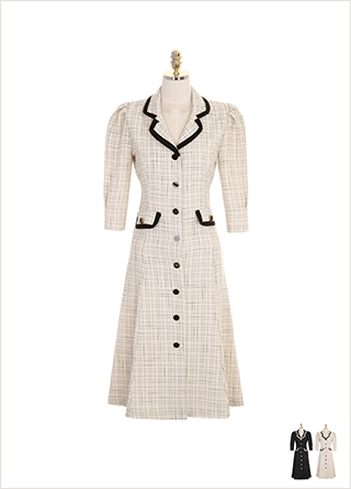 op7622 다양한 단추 디자인과 배색 라인 포인트의 트위드 자켓 원피스 dress
