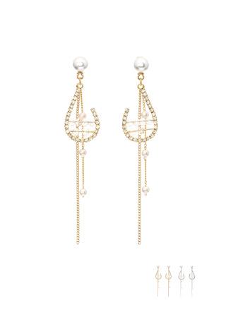 ac4131 물방울 쉐입에 큐빅진주 포인트를 더한 롱 드롭 이어링 earring