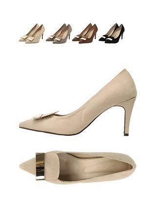sh1596 골드포인트 장식의 슬림코 스웨이드 펌프스 힐 shoes