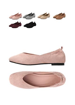 sh1598 캐쥬얼한 무드의 스웨이드 뒷밴딩 둥근코 플랫슈즈 shoes