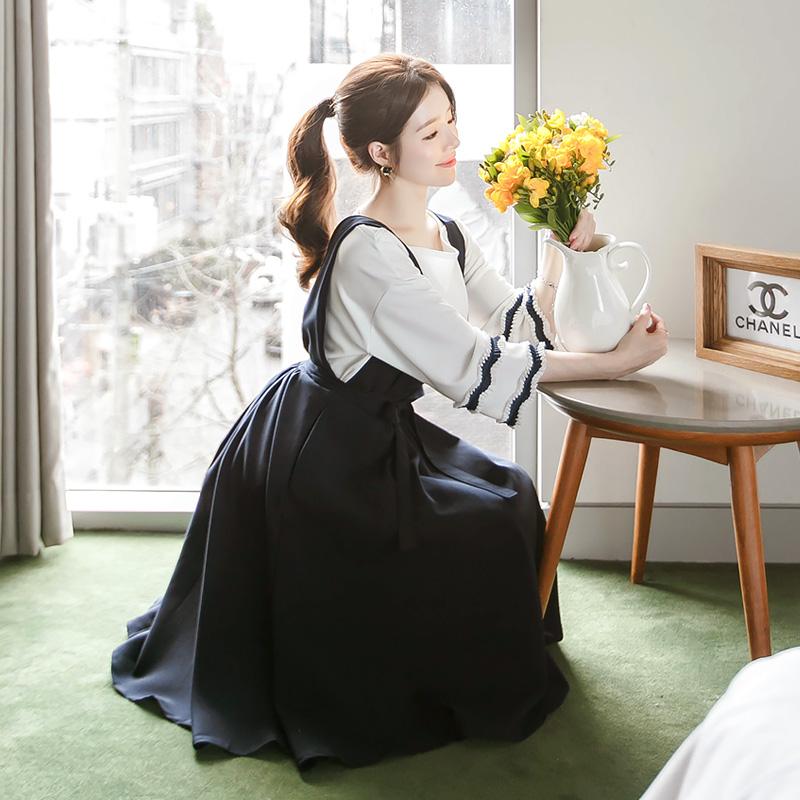 op2967 아뜨랑스 스테디셀러 리본스트랩 서스펜더 A라인 원피스 dress