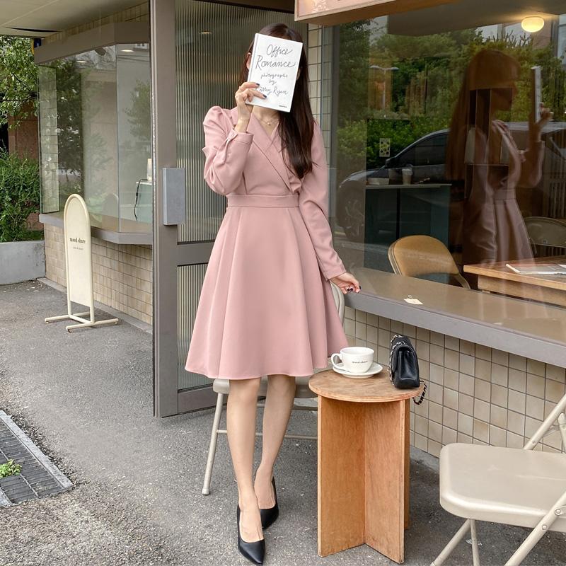 op3916 카라 장식의 플레어 라인 랩 원피스 dress