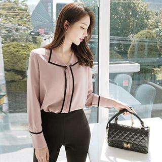 bs2905 배색 레일 디자인의 시크 페미닌 도톰 블라우스 blouse