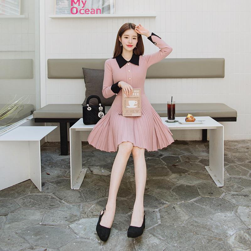 op4086 여리여리 단아하고 여성스러운 진주버튼 카라배색 니트원피스 dress