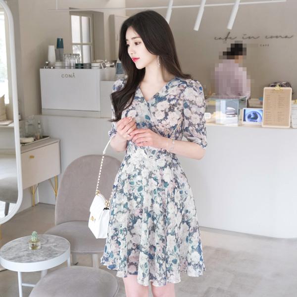 op4868 여리여리한 수채화 플라워 나염의 플레어라인 랩원피스 dress
