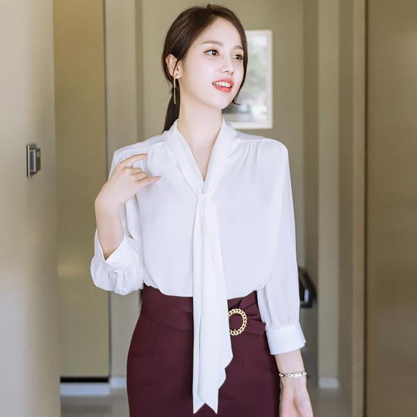 bs3687 타이 포인트의 7부 소매 쉬폰 블라우스 blouse