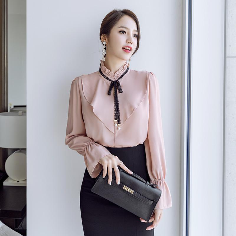 bs3708 고급스러운 무드의 진주장식 레이스 타이넥 쉬폰 블라우스 blouse