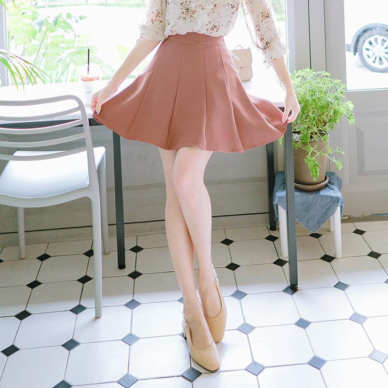 sk2826 절개라인 디자인의 간절기 컬러구성 밴딩 플레어 스커트 skirt