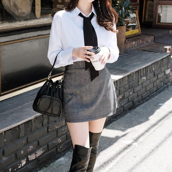 sk2914 잔체크 패턴의 랩디자인 미니 큐롯 팬츠 skirt