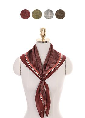 ac3609 배색 라인과 체크 패턴의 사각 쉐입 스카프 scarf