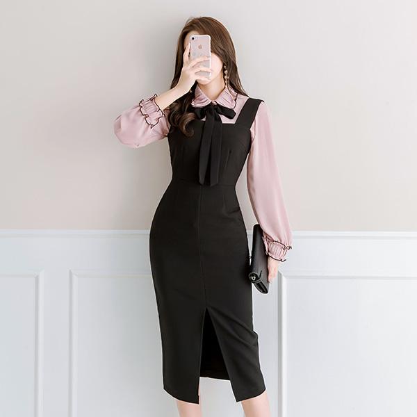 bs3852 러블리하고 클래식한 셔링 카라디자인의 리본 장식 쉬폰 미우 블라우스 blouse