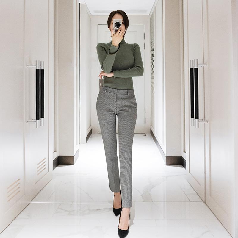 ps1511 세련되며 지적인 멋의 고방체크패턴 슬림 일자핏 슬랙스팬츠 pants