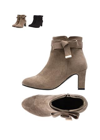 sh1135 로맨틱한 골드 바 리본 장식의 소프트 스웨이드 앵클 힐 부츠 shoes