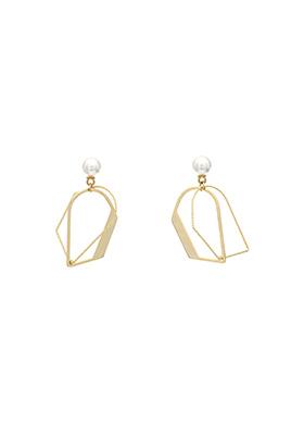 ac3635 유니크한 D 쉐입의 크로스 디자인 진주 장식 이어링 earring