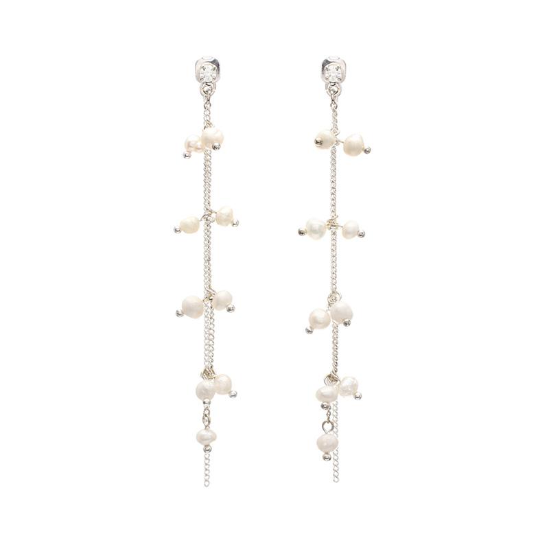 ac3647 여리여리한 감성의 담수진주장식 드롭 두줄 이어링,귀찌 earring